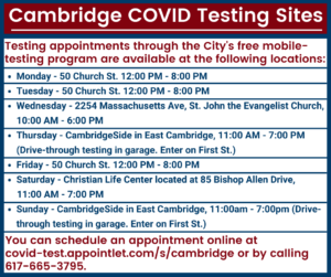 Cambridge COVID Testing Sites